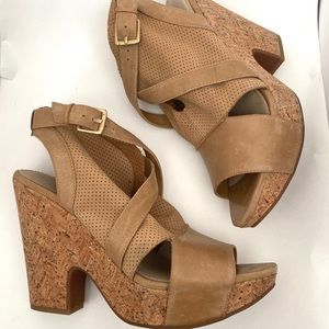 Anthropologie Naya Maple Cork Wedges Brown Sz9